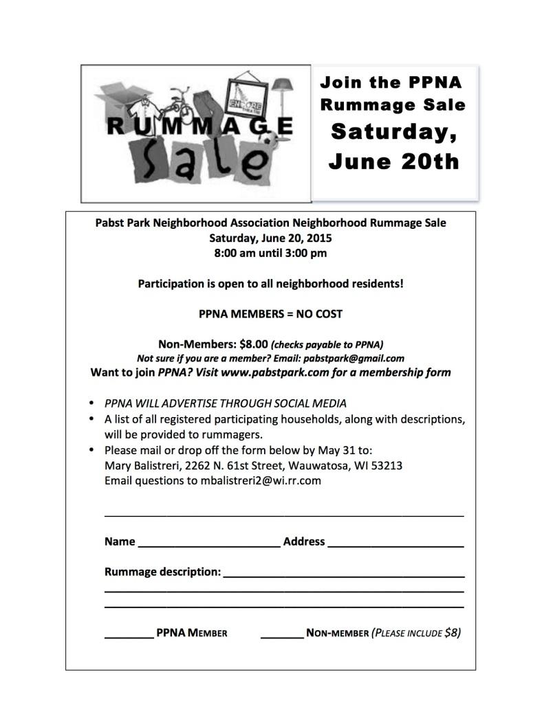 PPNA Rummage Flyer 2015