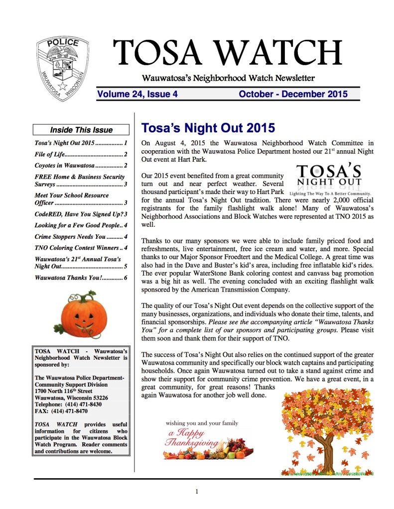 Oct-Dec 2015 Tosa Watch